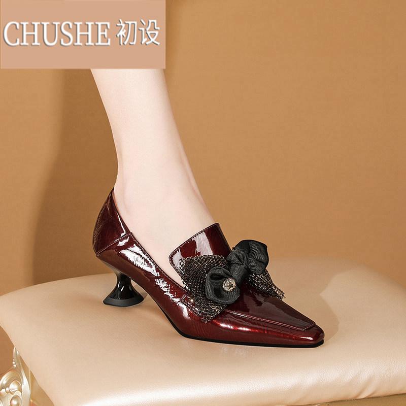 淘宝网高跟鞋 小方头皮鞋女2021春季新款时尚蝴蝶结漆皮高跟鞋女粗跟单鞋ZX0414_推荐淘宝好看的女高跟鞋