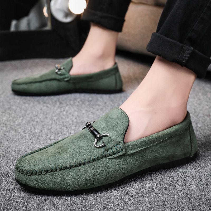 绿色豆豆鞋 豆豆鞋男秋季2021年新款男士低帮软底一脚蹬休闲高档驾车绿色男鞋_推荐淘宝好看的绿色豆豆鞋