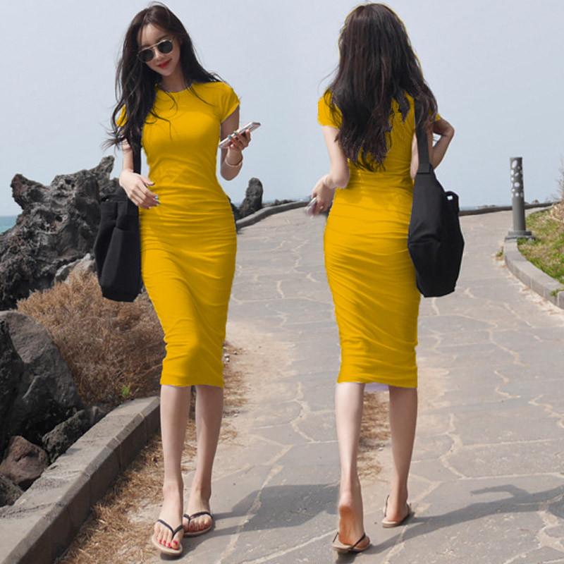 紧身连衣裙 2021新款长裙女性感紧身包臀连衣裙白色收腰显瘦气质长款t恤裙夏_推荐淘宝好看的紧身连衣裙