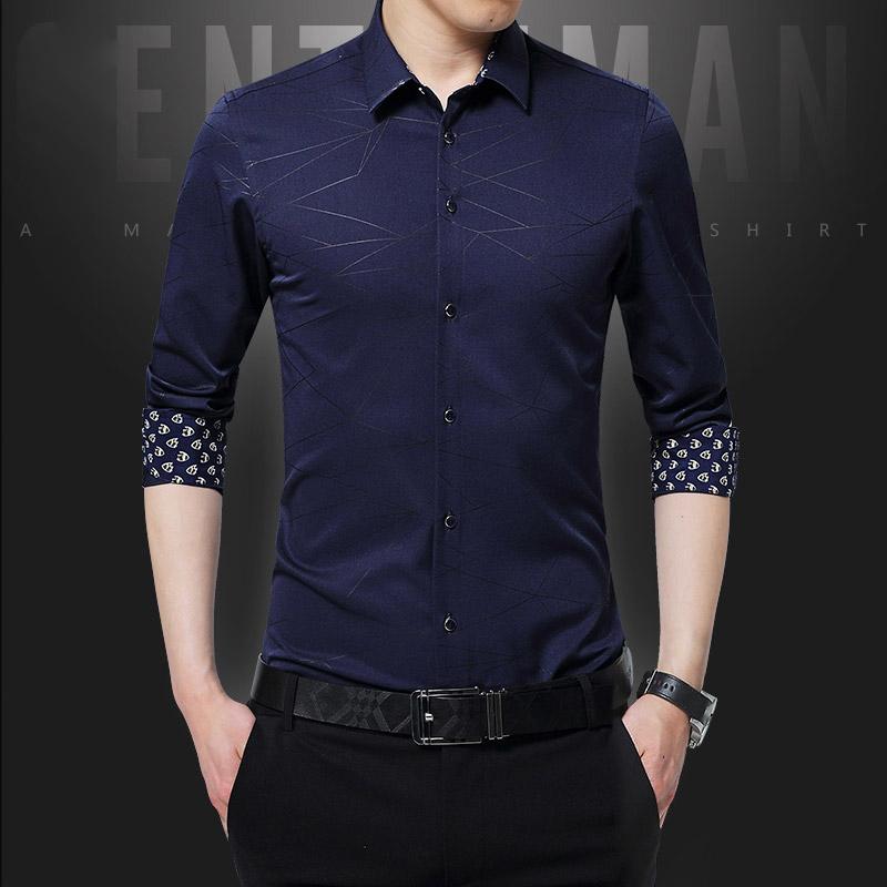男士衬衫 【蒙洛莱】男士长袖衬衫新款青年免烫韩版修身休闲正装上班衬衣潮_推荐淘宝好看的男衬衫