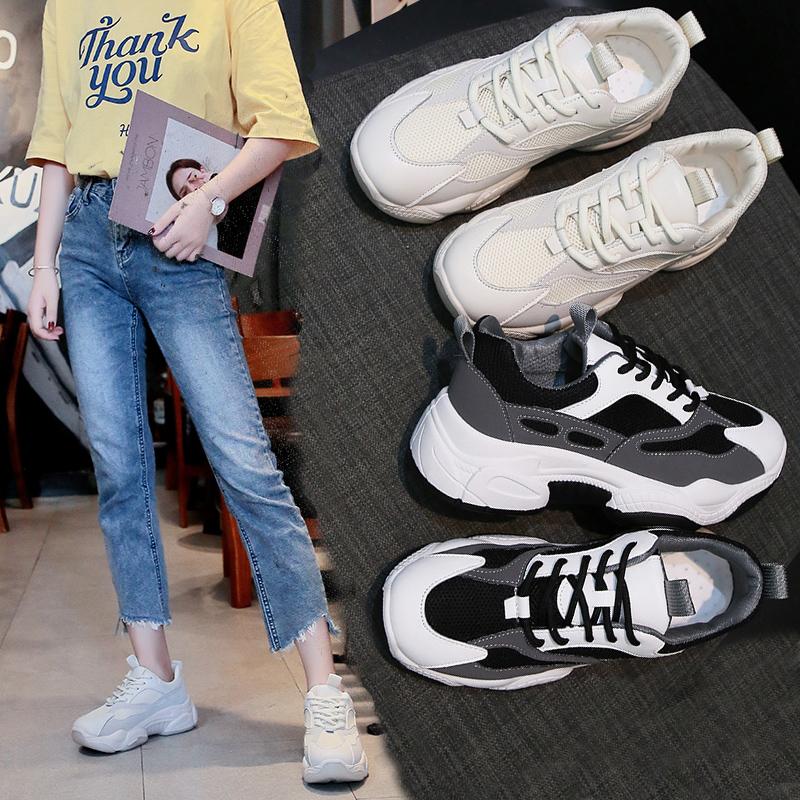 白色平底鞋 韩版女休闲老爹鞋夏季新款学生增高网面透气跑步平底白色运动鞋_推荐淘宝好看的白色平底鞋
