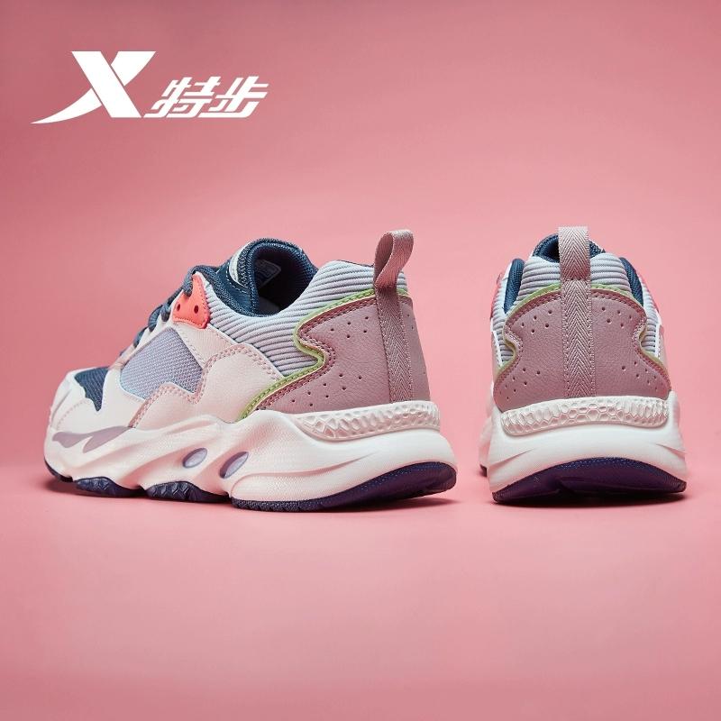 特步运动鞋 特步女鞋运动鞋女2021年秋季新款跑步鞋透气休闲鞋白色老爹鞋子_推荐淘宝好看的女特步运动鞋