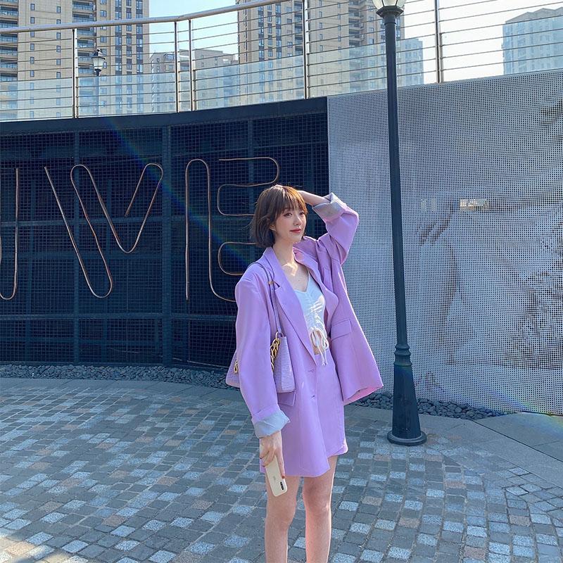 紫色小西装 小清新紫色春装女网红减龄套装裙女矮小个子温柔系甜美显高西装裙_推荐淘宝好看的紫色小西装