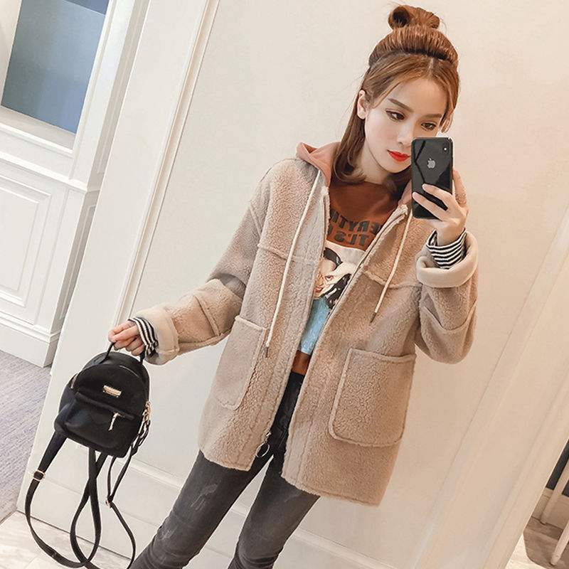 外套 2019秋冬韩版连帽棒球服夹克上衣女加厚仿羊羔毛短外套女小个子33_推荐淘宝好看的女外套