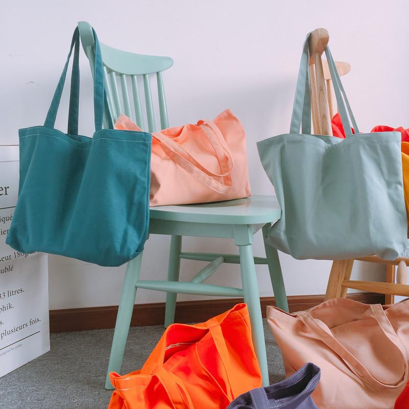 紫色糖果包 【YUU工作室】清新糖果色手提帆布袋单肩布包纯色棉麻环保袋书袋_推荐淘宝好看的紫色糖果包
