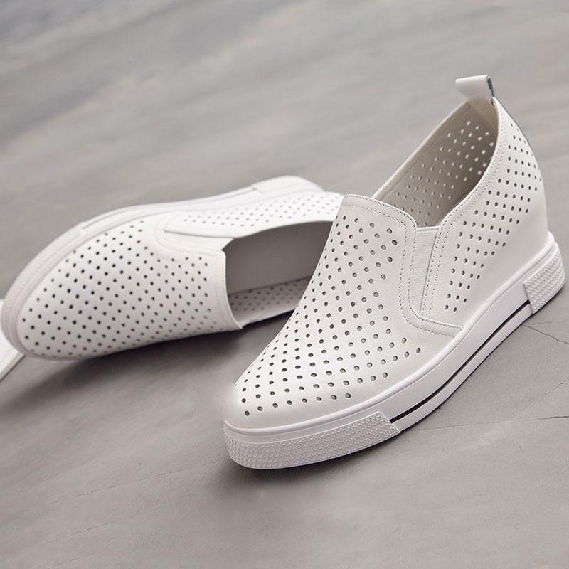 真皮坡跟鞋 内增高小白鞋女真皮镂空夏季薄款透气洞洞女鞋一脚蹬坡跟休闲百搭_推荐淘宝好看的真皮坡跟鞋