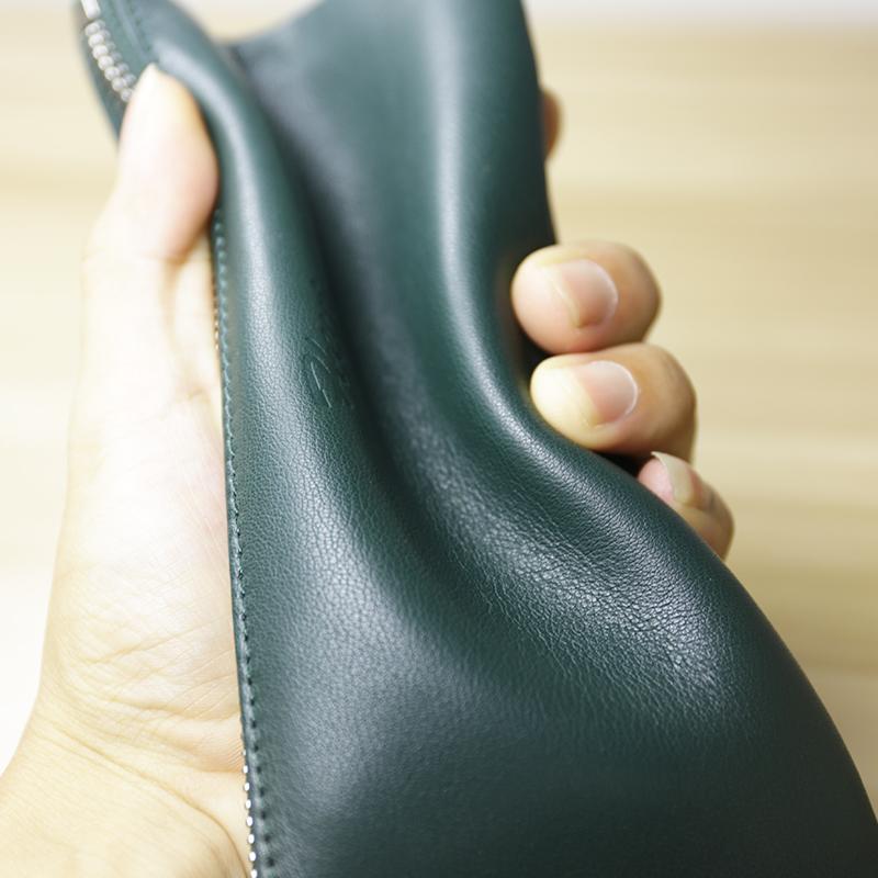 绿色手拿包 钱包男女长款手工真皮日韩头层牛皮钱夹简洁女手拿包拉链包超薄_推荐淘宝好看的绿色手拿包