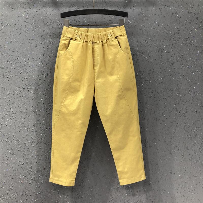 黄色牛仔裤 夏季新款港味女欧货潮休闲松紧腰薄料宽松显瘦小脚牛仔八分哈伦裤_推荐淘宝好看的黄色牛仔裤
