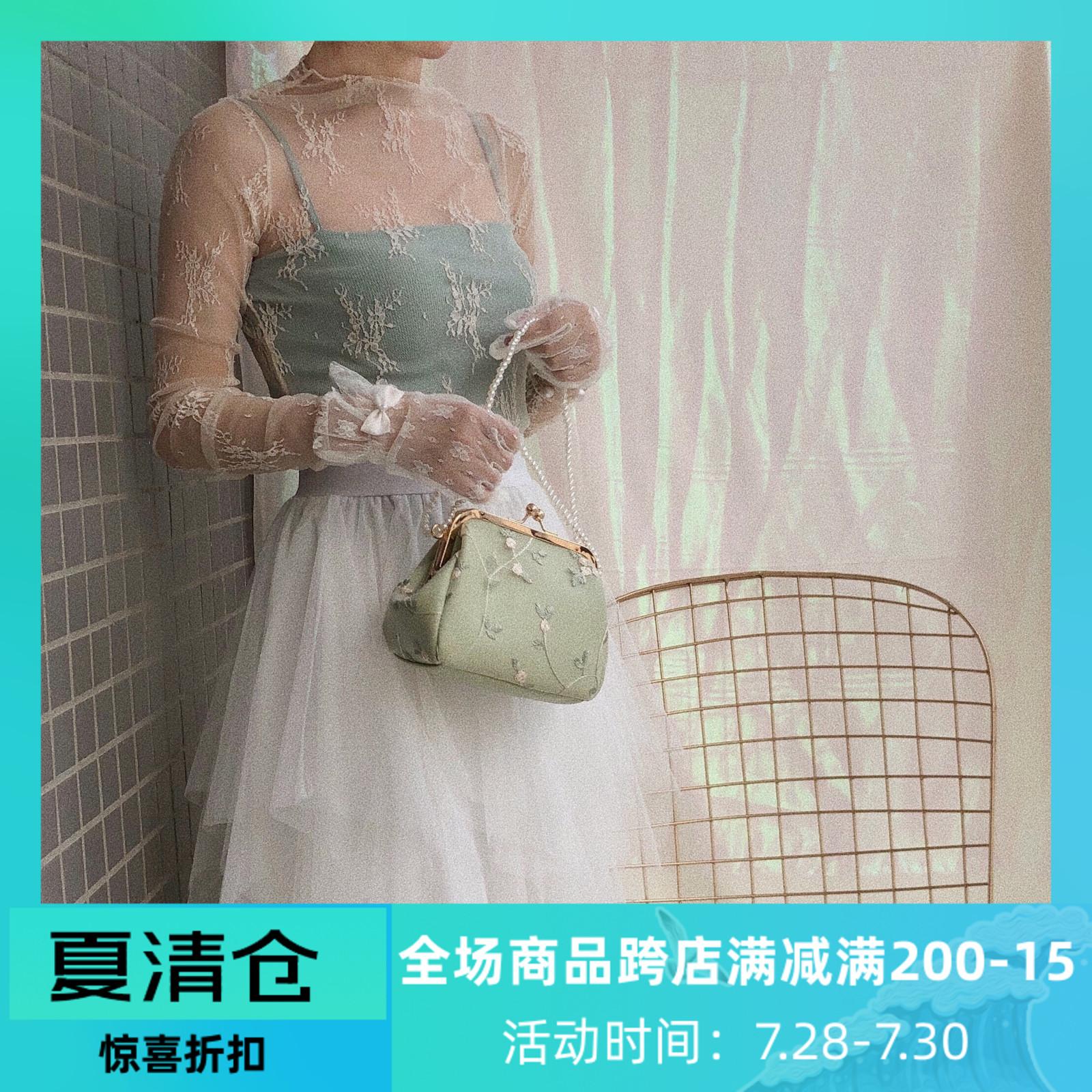 绿色复古包 复古名媛风小包包粉绿色蕾丝刺绣夹子包珍珠斜挎小众设计感女包包_推荐淘宝好看的绿色复古包