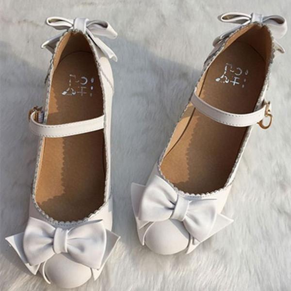 粗高跟单鞋 日系头新款圆头层牛皮真皮LOLITA甜美蝴蝶结粗跟高跟公主鞋女单鞋_推荐淘宝好看的女粗高跟单鞋