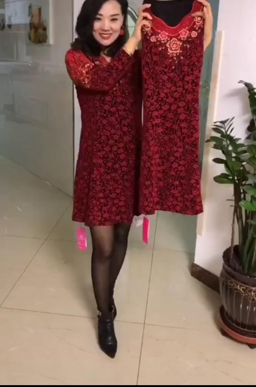 中老年韩版连衣裙 2020年春装新款时尚洋气连衣裙女韩版气质百搭中老年妈妈打底裙子_推荐淘宝好看的中老年韩版连衣裙