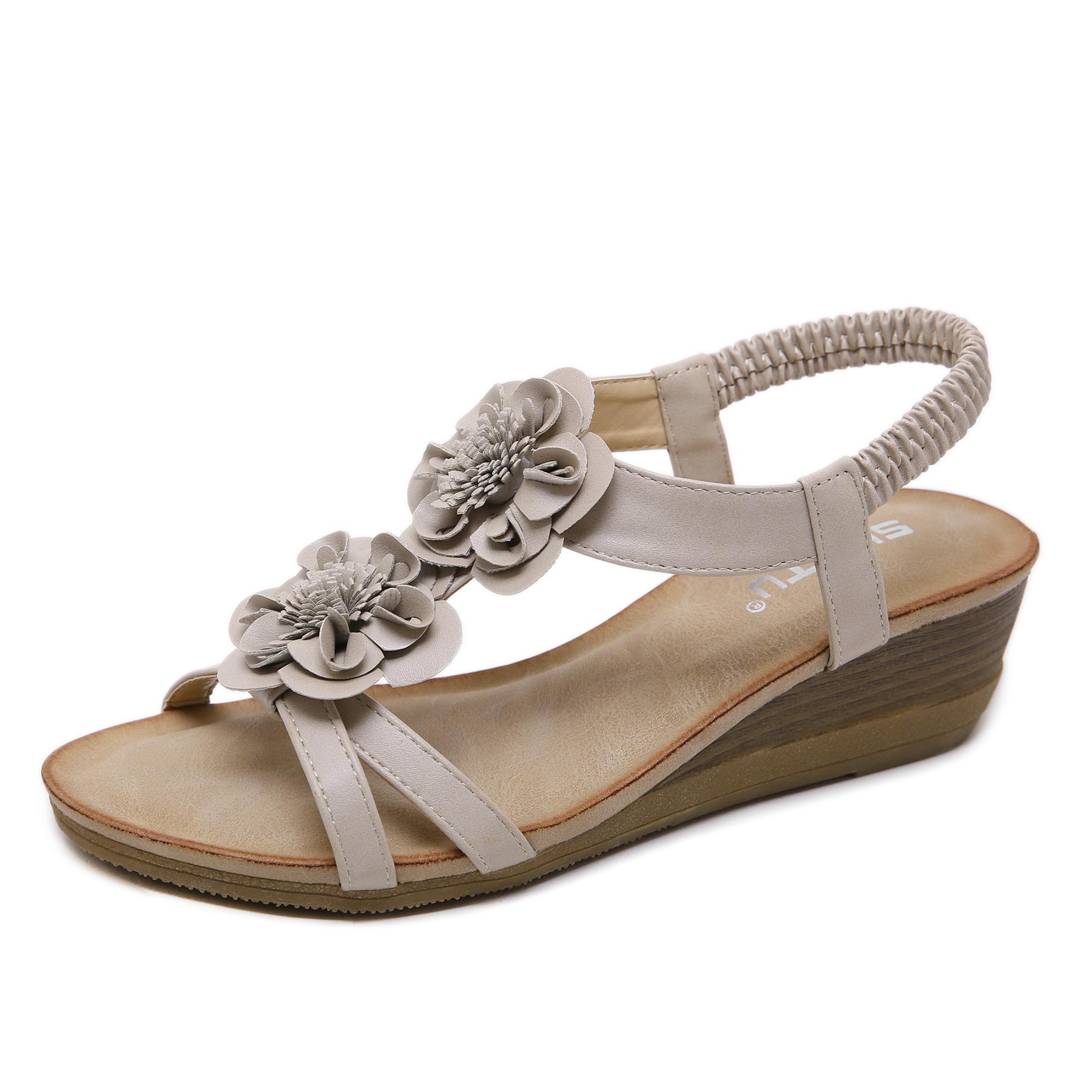 坡跟鱼嘴鞋 2020夏季新款黑杏色花朵低帮牛筋底波西米亚沙滩鞋中跟坡跟女凉鞋_推荐淘宝好看的女坡跟