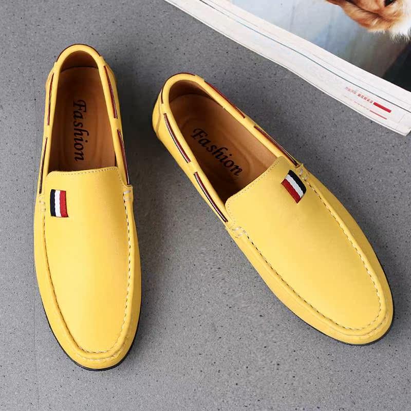 黄色豆豆鞋 豆豆鞋男真皮小码男鞋37码青年潮流韩版黄色英伦透气懒人休闲皮鞋_推荐淘宝好看的黄色豆豆鞋