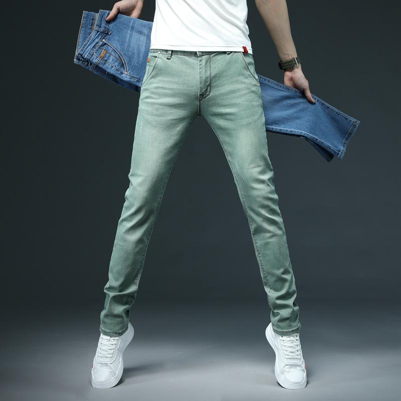 绿色牛仔裤 牛仔裤修身小脚长裤百搭网红绿色韩版潮流休闲春秋季男士裤子潮牌_推荐淘宝好看的绿色牛仔裤
