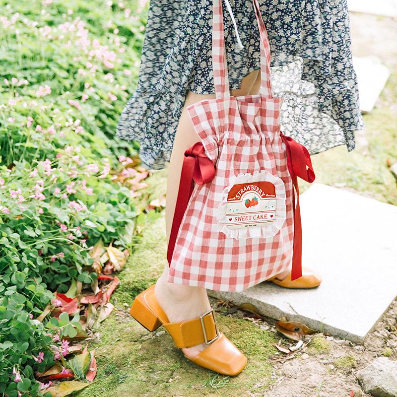 红色复古包 FRUCTOSA 果糖家 原创 红色复古格子草莓荷叶边 蝴蝶结少女单肩包_推荐淘宝好看的红色复古包