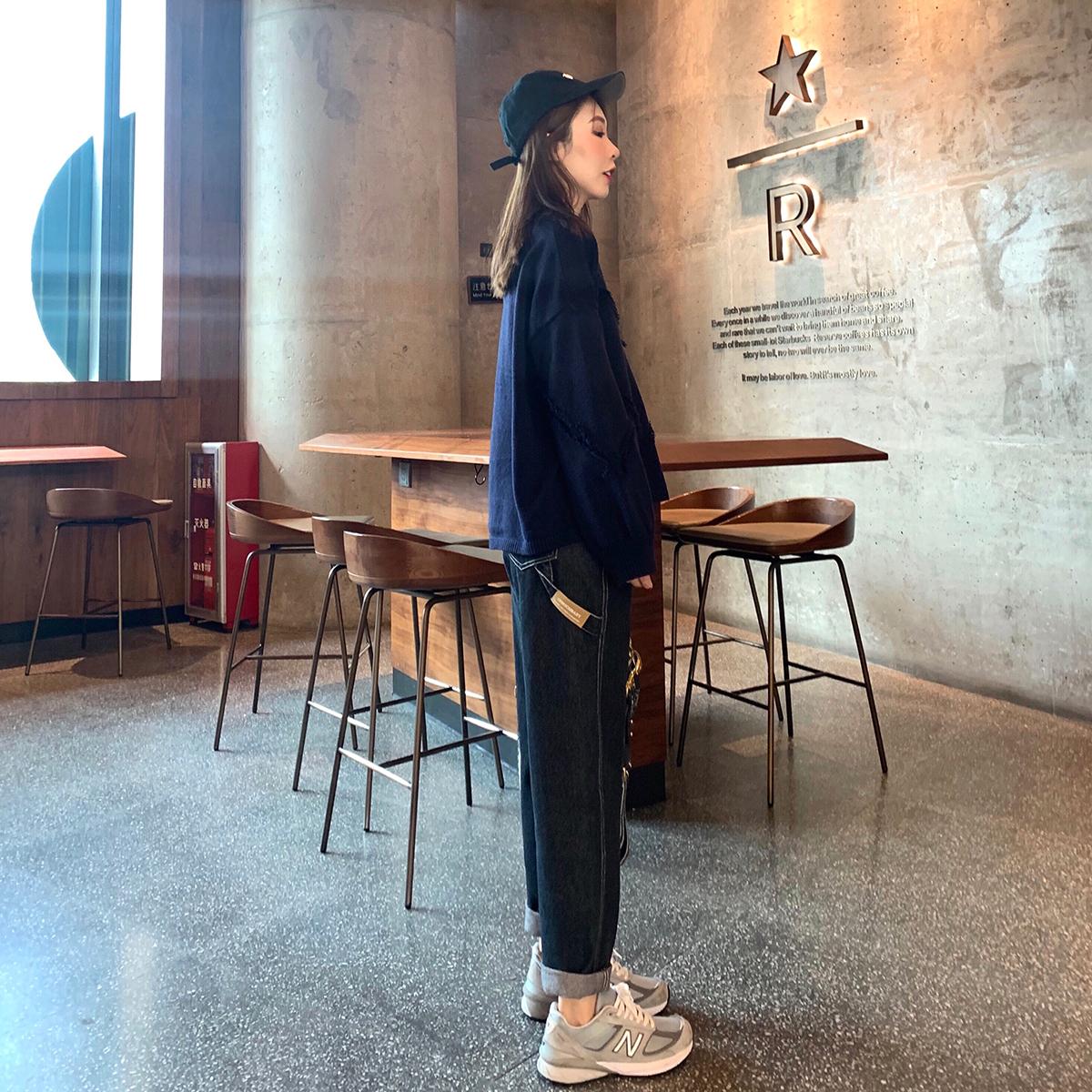 低腰直筒牛仔裤 WHYSTUDIO 黑灰色牛仔裤女冬季显高显瘦显腿长宽松明线直筒裤长裤_推荐淘宝好看的女低腰直筒牛仔裤