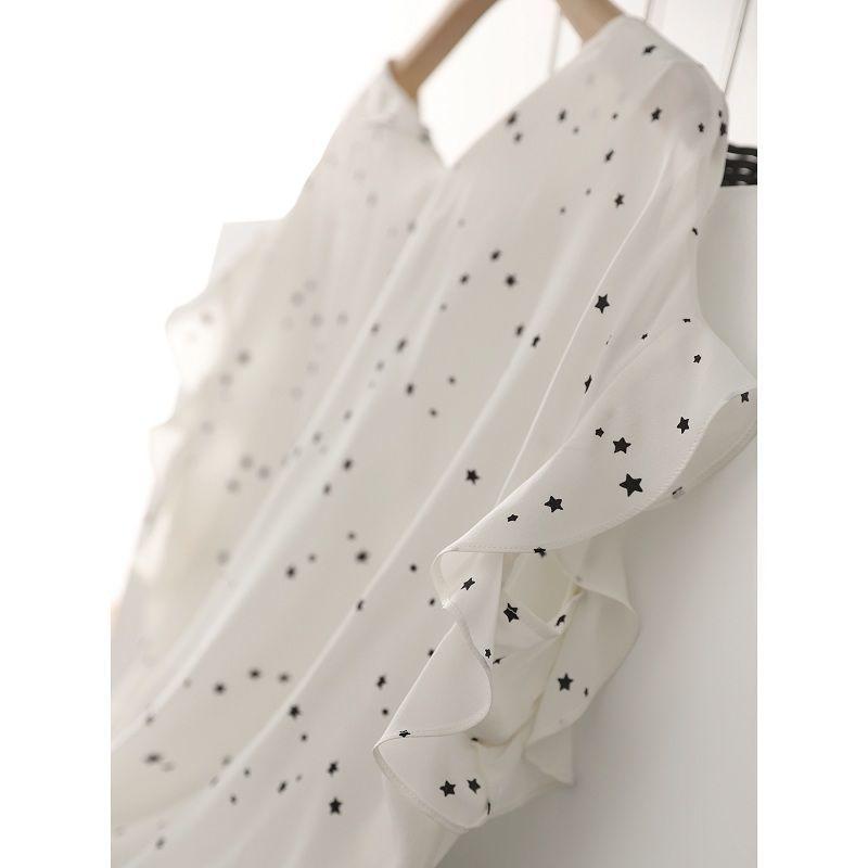 女士短袖衬衣 2021夏季新款印花雪纺衬衫女设计感圆领宽松短袖荷叶边白色衬衣女_推荐淘宝好看的女短袖衬衣