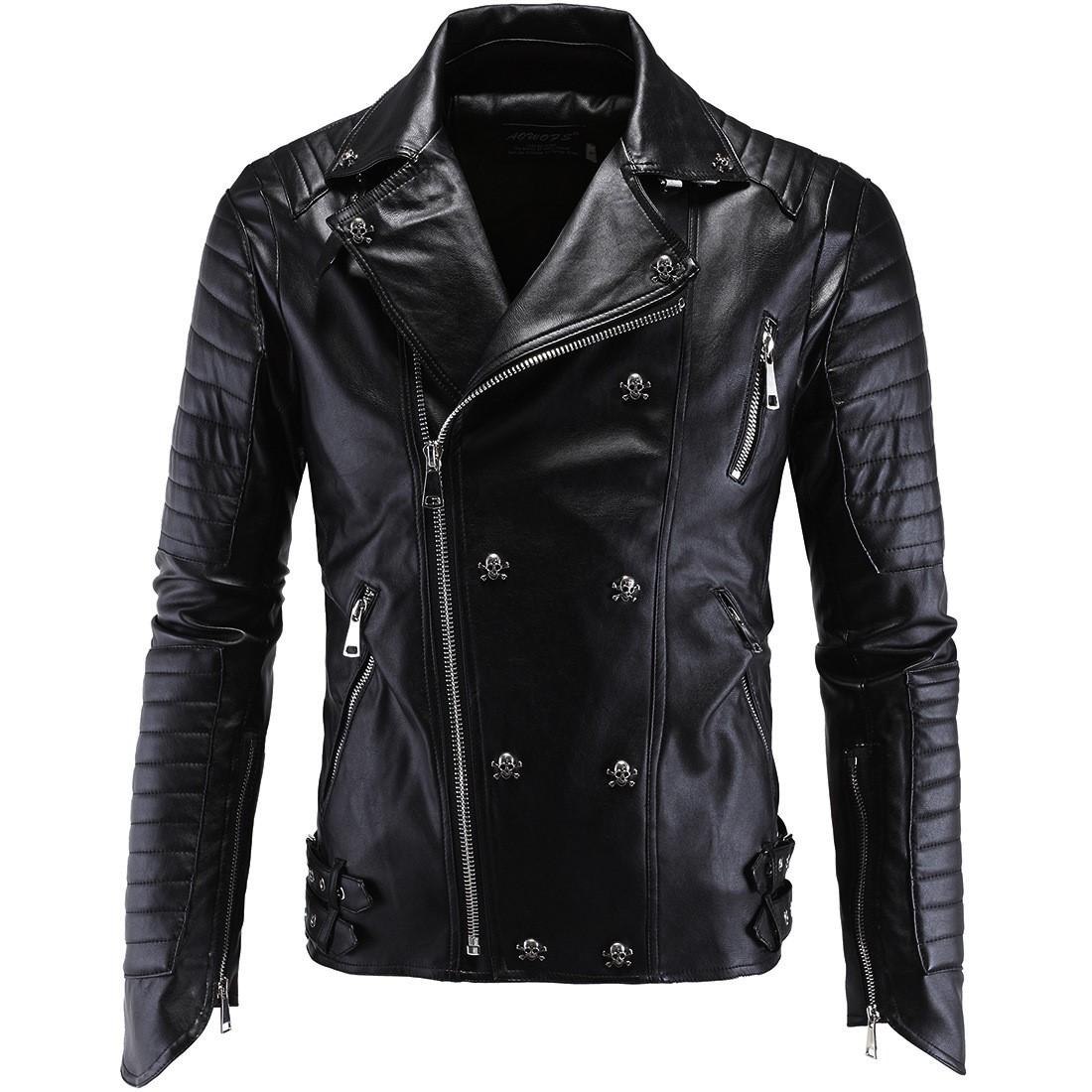 男士朋克皮衣 朋克男士皮衣卡丽皮机车皮衣修身哈雷皮夹克Men's jacket tops_推荐淘宝好看的男朋克皮衣