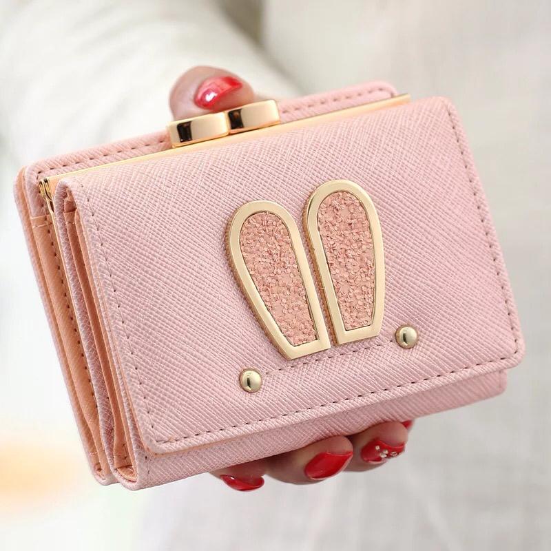 钱包 短款钱包女韩版简约学生钱包简约折叠小清新兔耳朵可爱少女零钱包_推荐淘宝好看的女钱包