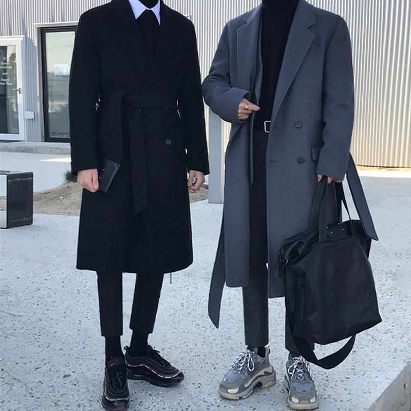 双排扣风衣 MRCYC冬季中长款毛呢大衣韩版加厚保暖呢子外套男双排扣潮流风衣_推荐淘宝好看的双排扣风衣