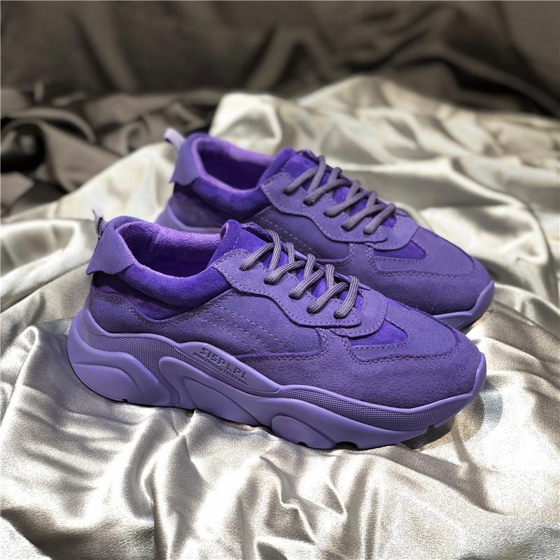 紫色运动鞋 S15女鞋老爹鞋女ins潮秋季网红百搭紫色街拍潮鞋真皮厚底运动鞋_推荐淘宝好看的紫色运动鞋