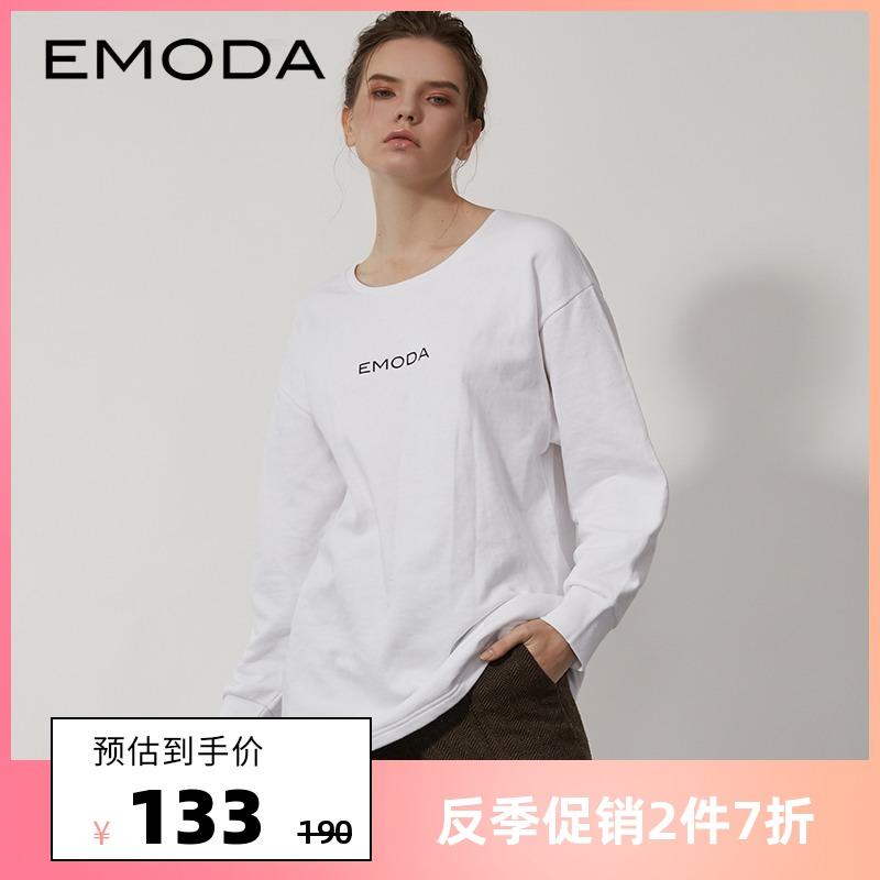 纯色长袖t恤 EMODA长袖T恤女logo印花春季新款潮圆领长袖打底纯色套头卫衣女_推荐淘宝好看的女纯色长袖t恤