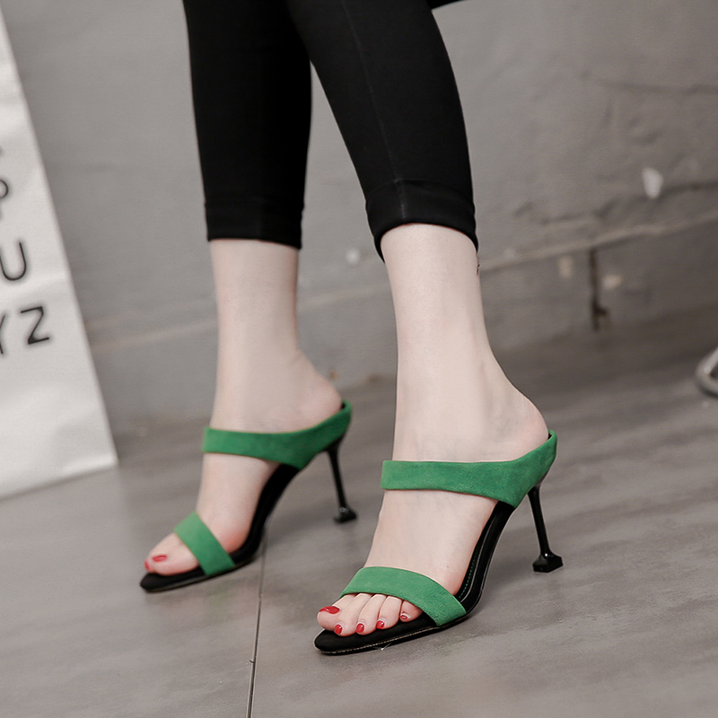 绿色鱼嘴鞋 伊斯迪潮流女鞋高跟鞋细跟鱼嘴2019夏季新款凉鞋磨砂黑色绿色日韩_推荐淘宝好看的绿色鱼嘴鞋