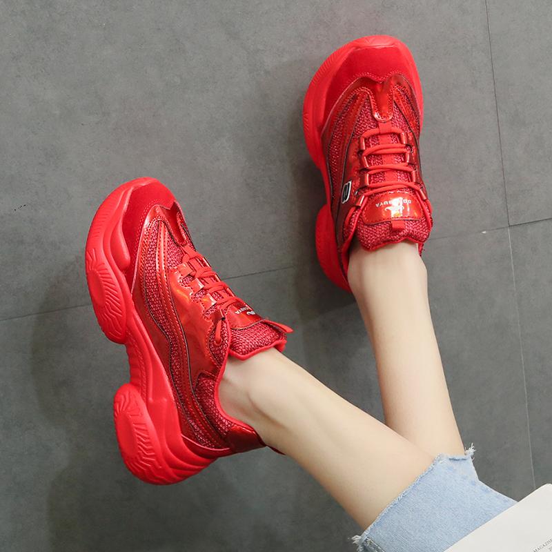 红色松糕鞋 厚底网面透气老爹鞋女2020春夏新款百搭红色休闲鞋学生运动松糕鞋_推荐淘宝好看的红色松糕鞋