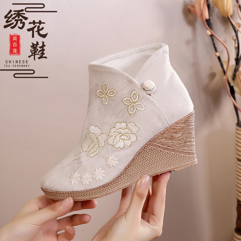 短靴 复古中跟旗袍靴子茶服鞋女老北京布靴古风汉服鞋子粗跟短靴绣花靴_推荐淘宝好看的女短靴