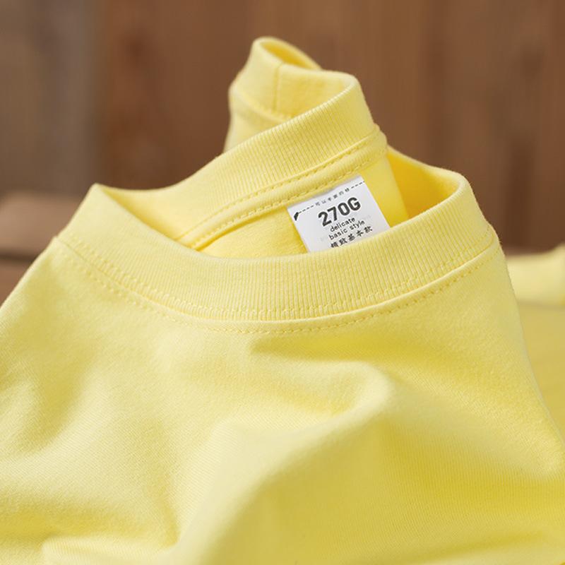 黄色T恤 270g重磅不透圆领鸢尾黄短袖t恤男女纯棉纯色清新淡黄色夏季情侣_推荐淘宝好看的黄色T恤