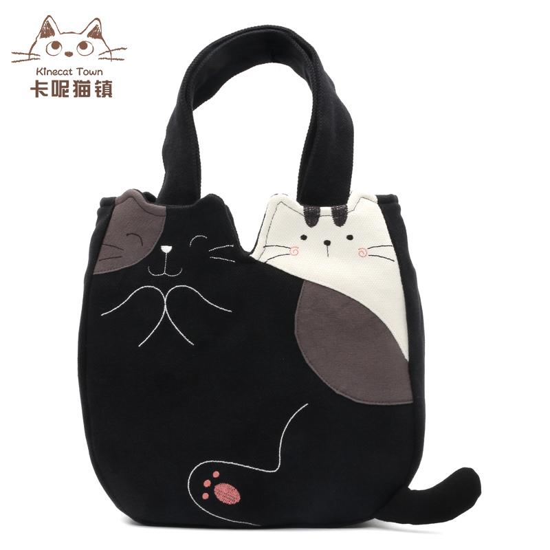 韩版时尚手提包 日本设计KINE猫可爱卡通纯棉帆布布艺逛街小手提包便当包女士韩版_推荐淘宝好看的女韩版手提包