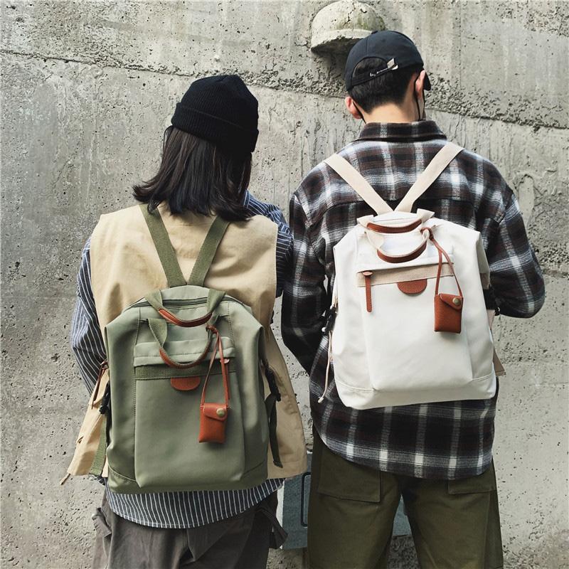 绿色双肩包 泫雅书包女韩版学生背包校园学院风电脑大容量灰绿色书包双肩包男_推荐淘宝好看的绿色双肩包