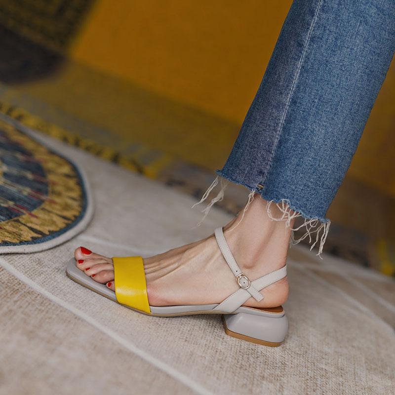 黄色罗马鞋 高档时尚法式复古一字带凉鞋女夏粗跟仙女风真皮晚晚风黄色罗马鞋_推荐淘宝好看的黄色罗马鞋