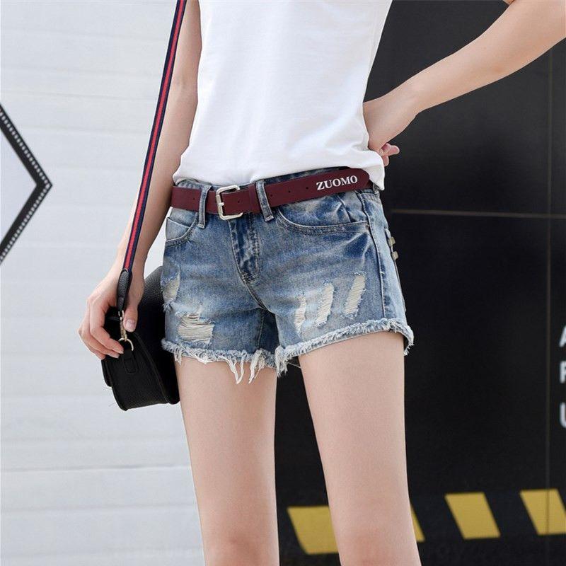 低腰牛仔裤 2021年新款牛仔短裤女夏破洞时尚百搭修身显瘦直筒低腰超短裤子潮_推荐淘宝好看的女低腰牛仔裤