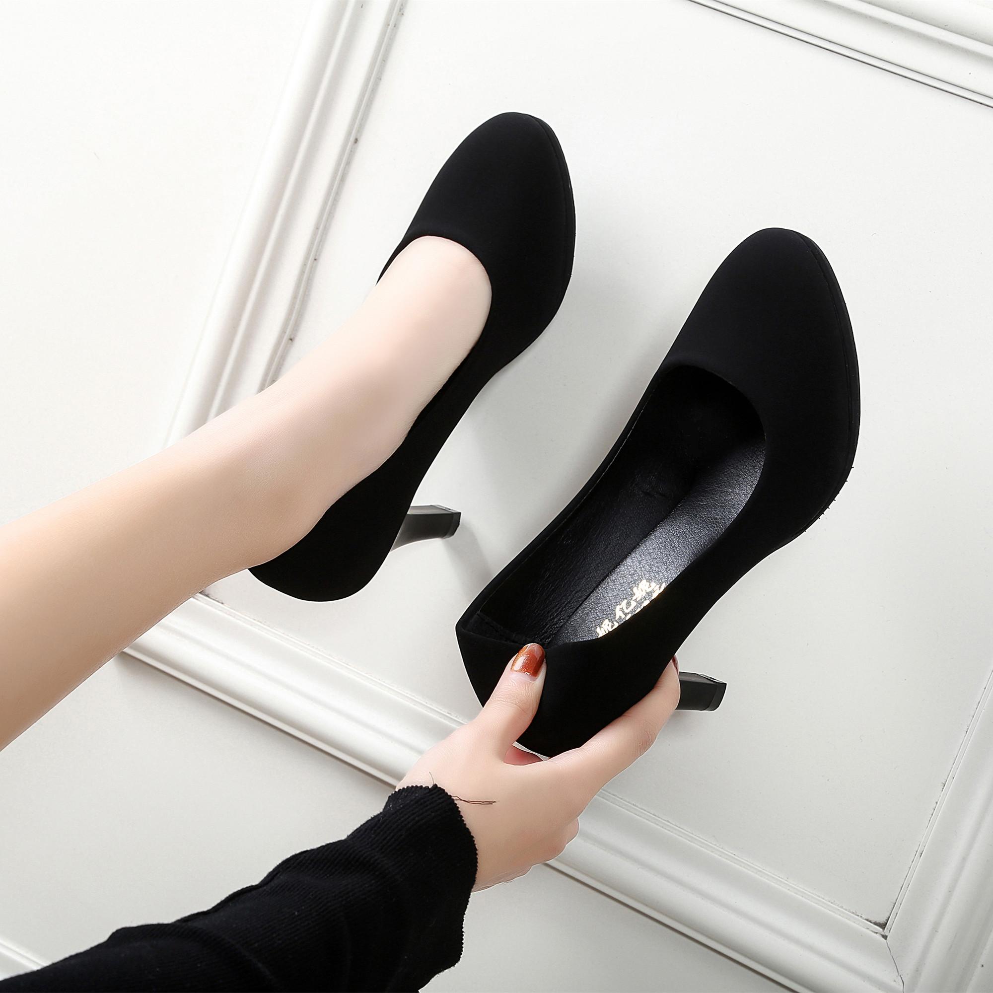 黑色高跟单鞋 舒适学生正装礼仪职业单鞋空姐软绒面高跟鞋中跟黑色面试工作鞋女_推荐淘宝好看的女黑色高跟单鞋