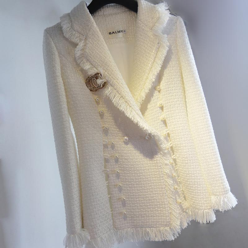 白色风衣 2021春夏白色小香风毛呢外套西装领女士风衣珍珠扣精品高档流苏13_推荐淘宝好看的白色风衣