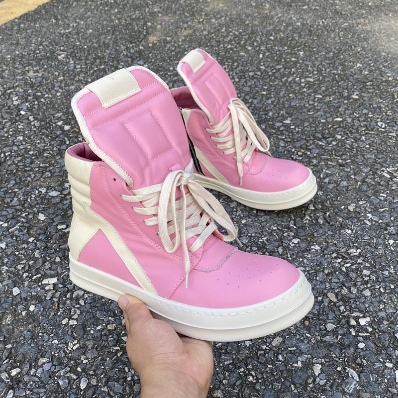 粉红色高帮鞋 2021ss欧美潮鞋ro倒三角粉红色真皮高帮鞋男工装鞋厚底潮靴女短靴_推荐淘宝好看的粉红色高帮鞋