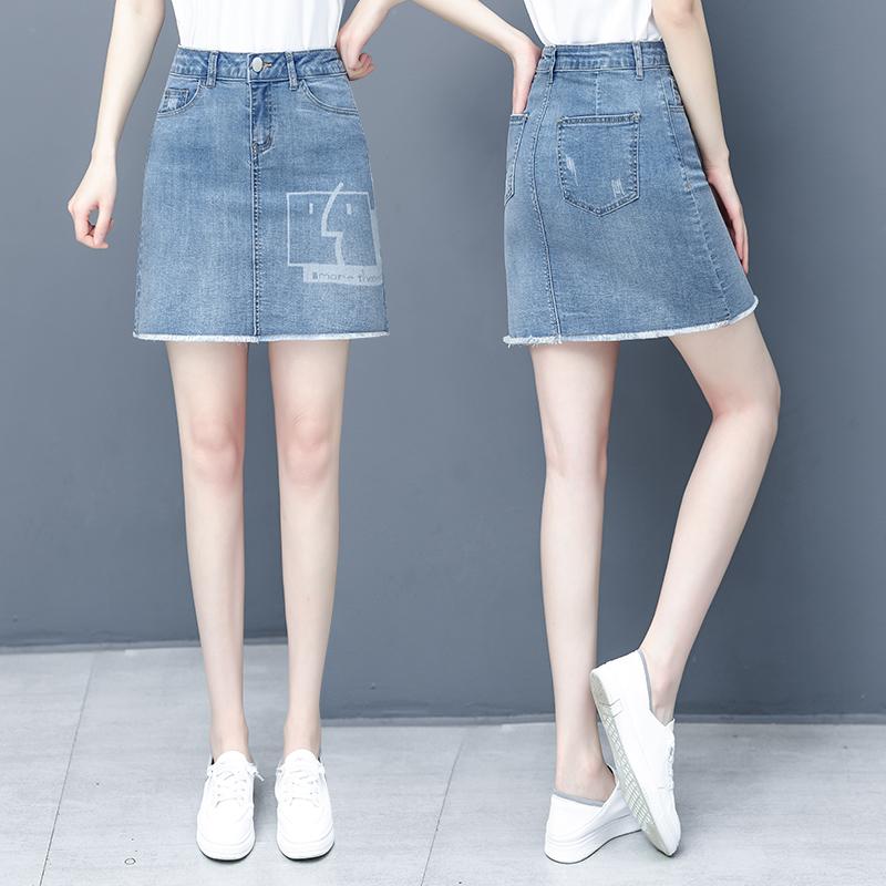以纯半身裙 以纯高腰牛仔裙女2021夏季新款a字包臀半身裙显瘦一步裙轻薄短裙_推荐淘宝好看的以纯半身裙