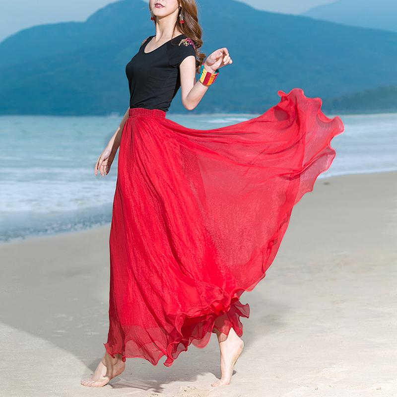 以纯半身裙 新品8米大摆双层高腰金丝雪纺半身裙波西米亚跳舞长裙仙女沙滩裙_推荐淘宝好看的以纯半身裙