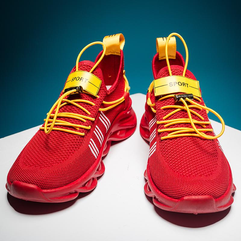 红色厚底鞋 厚底老爹鞋飞织学生跑步运动鞋男士2020春季新款健身鞋红色潮鞋_推荐淘宝好看的红色厚底鞋
