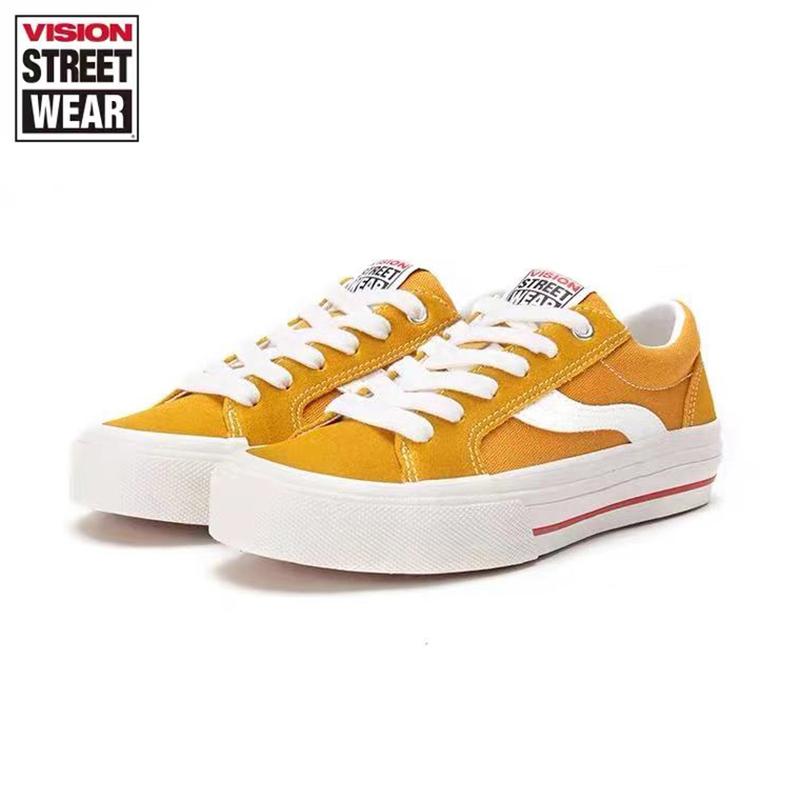 黄色运动鞋 VISIONxOdd AstleyPro姜黄色翻毛皮帆布低帮潮流滑板鞋运动休闲鞋_推荐淘宝好看的黄色运动鞋