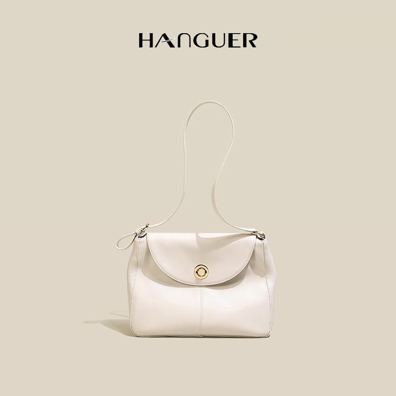 白色邮差包 HANGUER&CK 小众设计日系白色邮差包小包包女2020新款潮斜挎包_推荐淘宝好看的白色邮差包