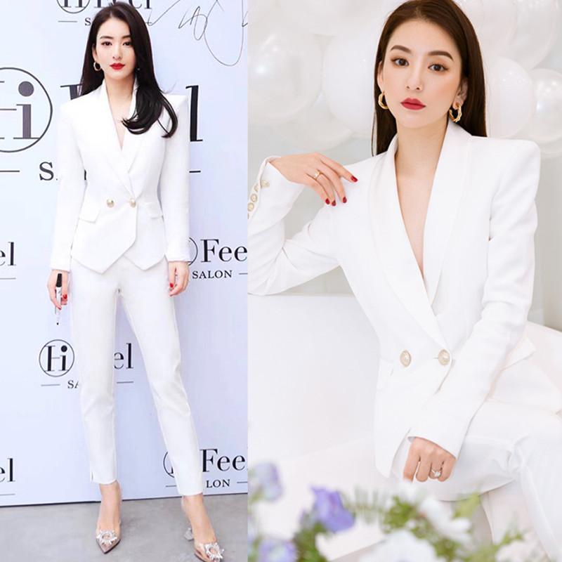 白色小西装 明星同款白色西装套装女春夏气质高端小个子职业装短款西服两件套_推荐淘宝好看的白色小西装