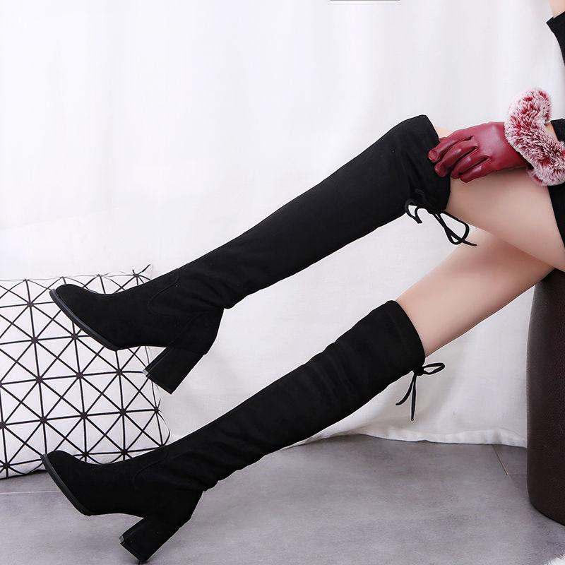 高跟鞋 61p女靴冬季新款长靴子女黑色高跟鞋粗跟女鞋显瘦过膝弹力靴_推荐淘宝好看的女高跟鞋