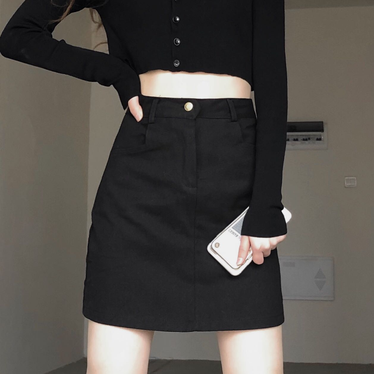 绿色半身裙 Lazy Fendy纯色百搭高腰A字版黑色韩版短裙夏季显瘦半身裙简约风_推荐淘宝好看的绿色半身裙