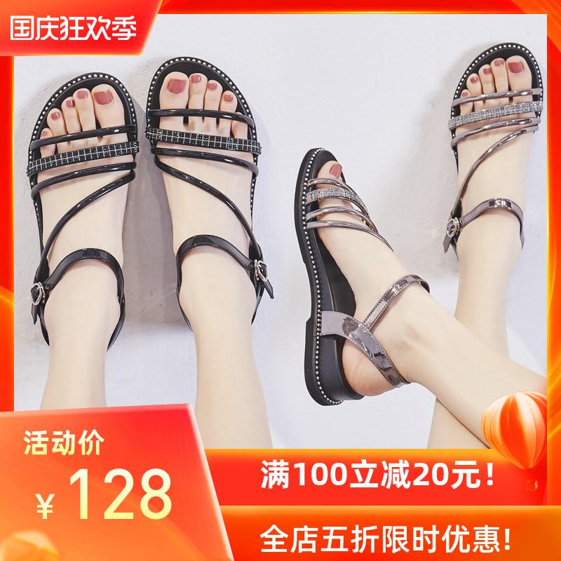 平底凉鞋 凉鞋女2020年新款百搭仙女风中跟夏季女士鞋子罗马平底鞋坡跟时尚_推荐淘宝好看的女平底凉鞋