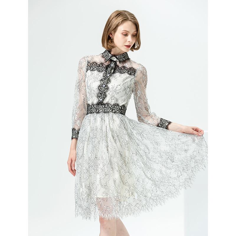 蕾丝连衣裙 经典款 连衣裙女2020春季新款气质蕾丝裙高领小众设计感中长款雪纺裙_推荐淘宝好看的蕾丝连衣裙