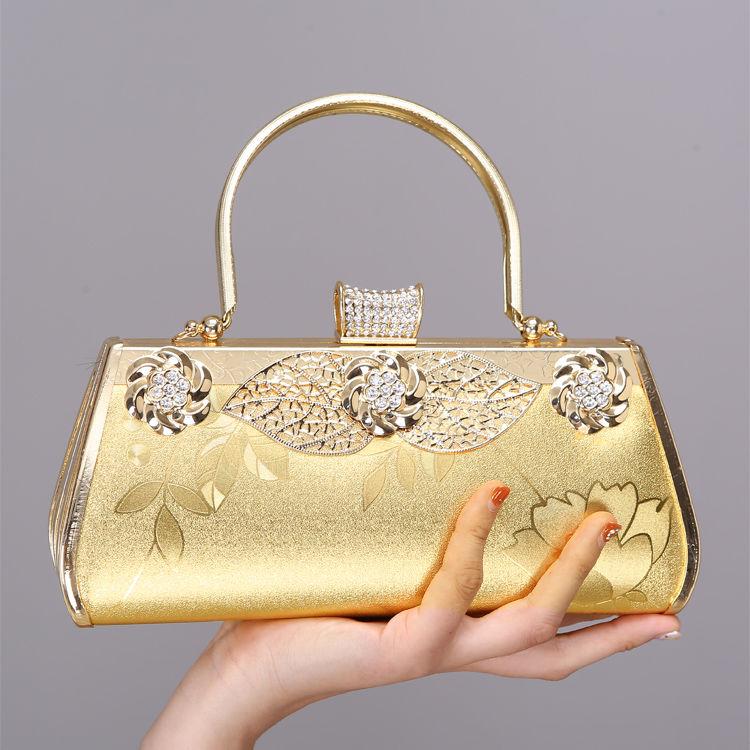 黄色手提包 金黄色夏季旗袍包迷你小包包复古风包妈妈手提包口金包结婚新娘包_推荐淘宝好看的黄色手提包