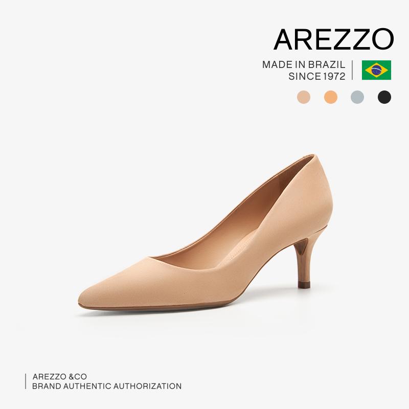 尖头高跟鞋 巴西AREZZO雅莉朶2020年春夏新款多色绒面细中高跟尖头职业女单鞋_推荐淘宝好看的女尖头高跟鞋