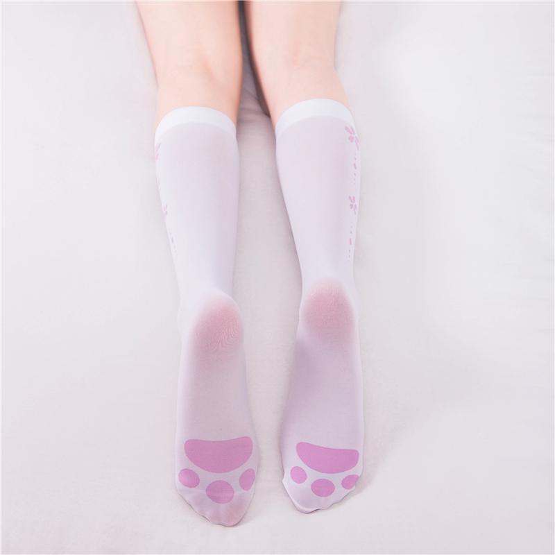 制服丝袜 猫爪印花小腿袜女日系可爱猫咪洛丽塔学生白色丝袜中筒jk制服袜子_推荐淘宝好看的制服丝袜